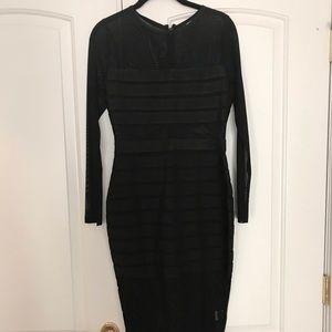 Missguided Black Midi Bandage Dress Long Sleeve